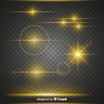 Colección de efectos luminosos brillantes