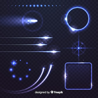 Colección de efectos luminosos tecnológicos