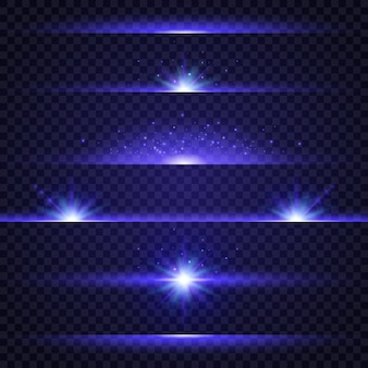 Colección de efectos de luz azul sobre fondo transparente.