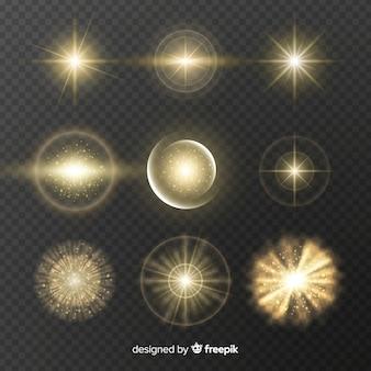 Colección de efectos de luz dorada.