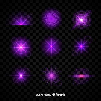 Colección de efectos de luz púrpura sobre fondo transparente