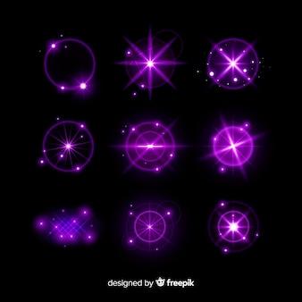 Colección de efectos de luz púrpura de tecnología