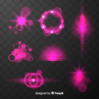 Colección de efectos de luz rosa brillante