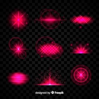 Colección de efectos de luz rosa sobre fondo transparente