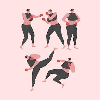 Colección de ejercicios de mujer fitness, aeróbicos y ejercicios.