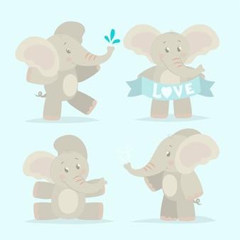 Colección elefante bebés graciosos