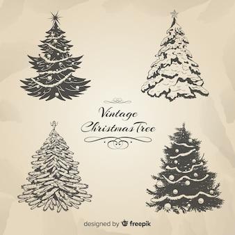 Colección elegante de árboles de navidad con estilo vintage