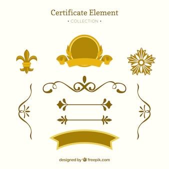 Colección elegante de elementos de certificado con diseño plano