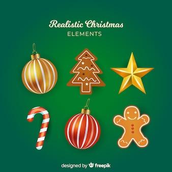 Colección elegante de elementos de navidad con diseño realista