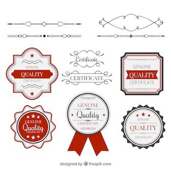 Colección elegante de elementos de certificado