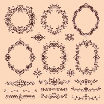 Colección elegante de elementos ornamentales