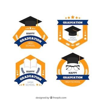 Colección elegante de insignias de graduación elegante con diseño plano