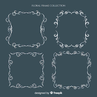 Colección elegante de marcos florales con diseño vintage
