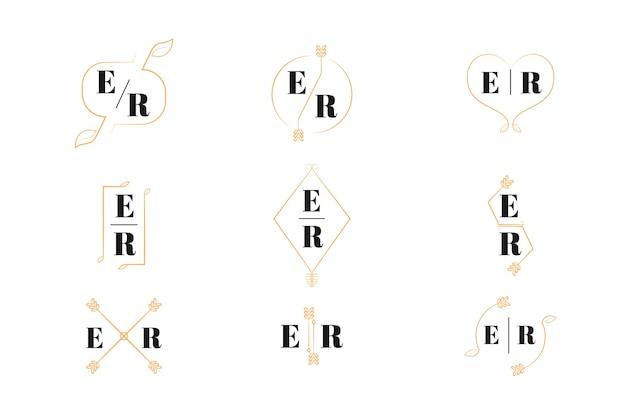 Colección elegante de monogramas de bodas