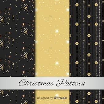 Colección elegante de patrones de navidad en negro y dorado