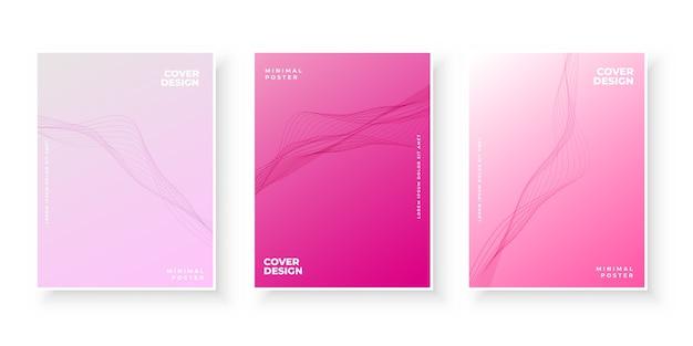 Colección elegante de portadas rosa degradado con formas onduladas