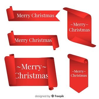 Colección elegante de ribbons rojos de navidad