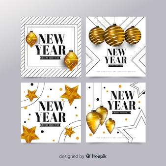 Colección elegante de tarjetas de año nuevo 2019 con diseño realista