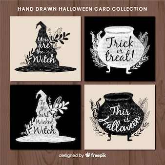 Colección elegante de tarjetas de halloween en acuarela