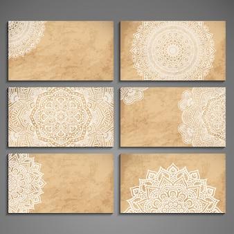 Colección elegante de tarjetas de mandala