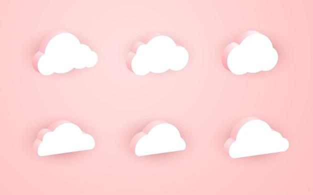 Colección de elegantes y hermosas nubes rosas 3d