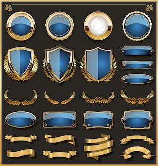 Colección de elegantes insignias azules y doradas.