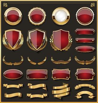 Colección de elegantes insignias rojas y doradas.