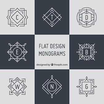 Colección de elegantes monogramas en estilo lineal