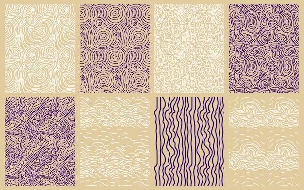 Colección de elegantes patrones de líneas redondas