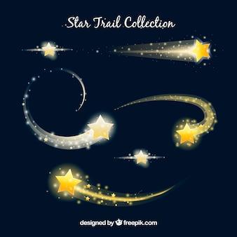Colección de elegantes trazas de estrellas