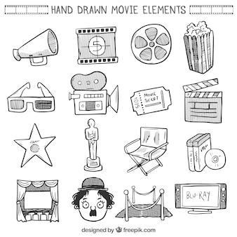 Colección del elemento película bocetos