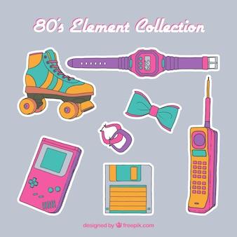 Colección de elementos de los 80