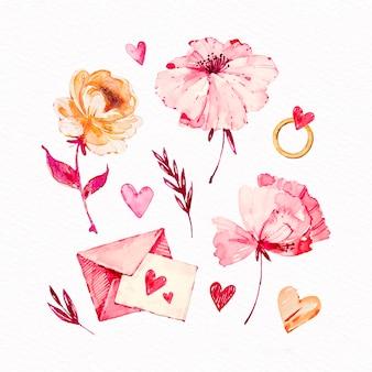 Colección de elementos de acuarela del día de san valentín