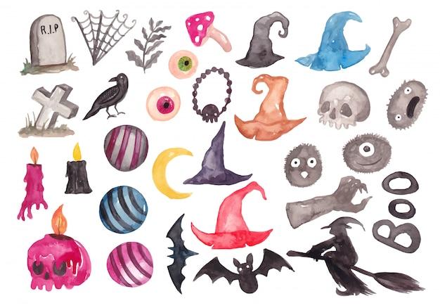 Colección de elementos de acuarela de halloween de dibujos animados