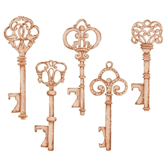 Colección de elementos de acuarela de san valentín llave antigua