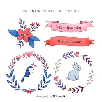 Colección de elementos de acuarela de san valentin