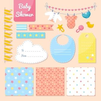 Colección de elementos adorables del álbum de recortes de baby shower