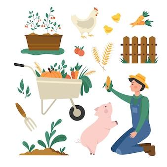 Colección de elementos de agricultura ecológica y agricultor.