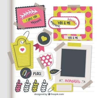 Colección de elementos de álbum de recortes en diseño plano