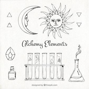 Colección de elementos de alquimia dibujados a mano