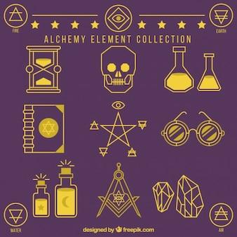 Colección de elementos de alquimia trazados
