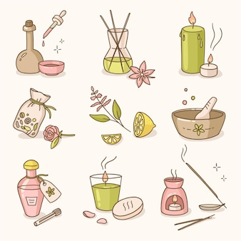 Colección de elementos de aromaterapia dibujados a mano
