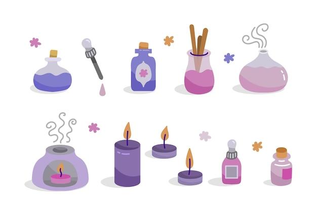 Colección de elementos de aromaterapia dibujados