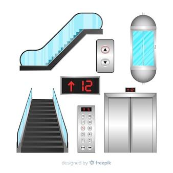 Colección de elementos de ascensor con diseño realista