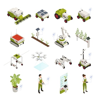 Colección de elementos de automatización de agricultura isométrica.