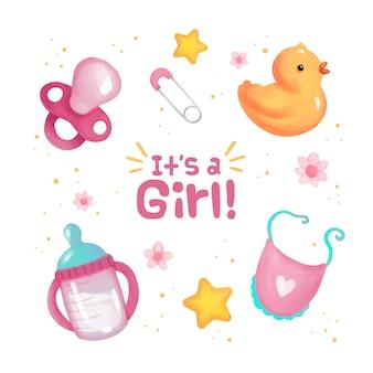 Colección de elementos de baby shower para niña