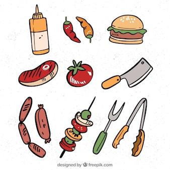 Colección de elementos de barbacoa con comida y utensilios