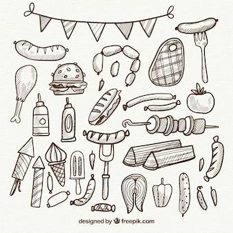 Colección de elementos de barbacoa en estilo simple dibujada a mano