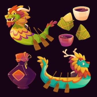 Colección de elementos de barco de dragón de dibujos animados