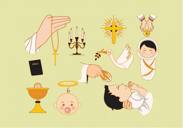 Colección de elementos de bautizo
